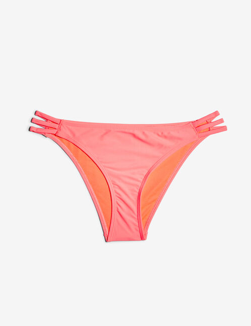 Neon coral bikini briefs with strap detail