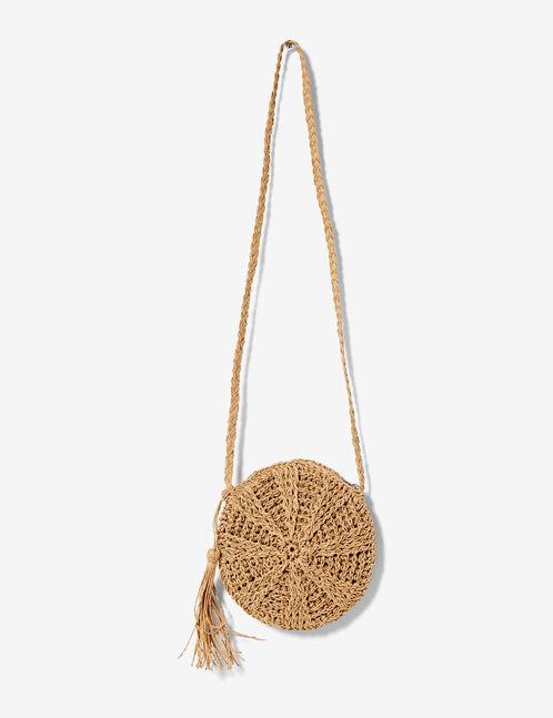 brown round straw bag