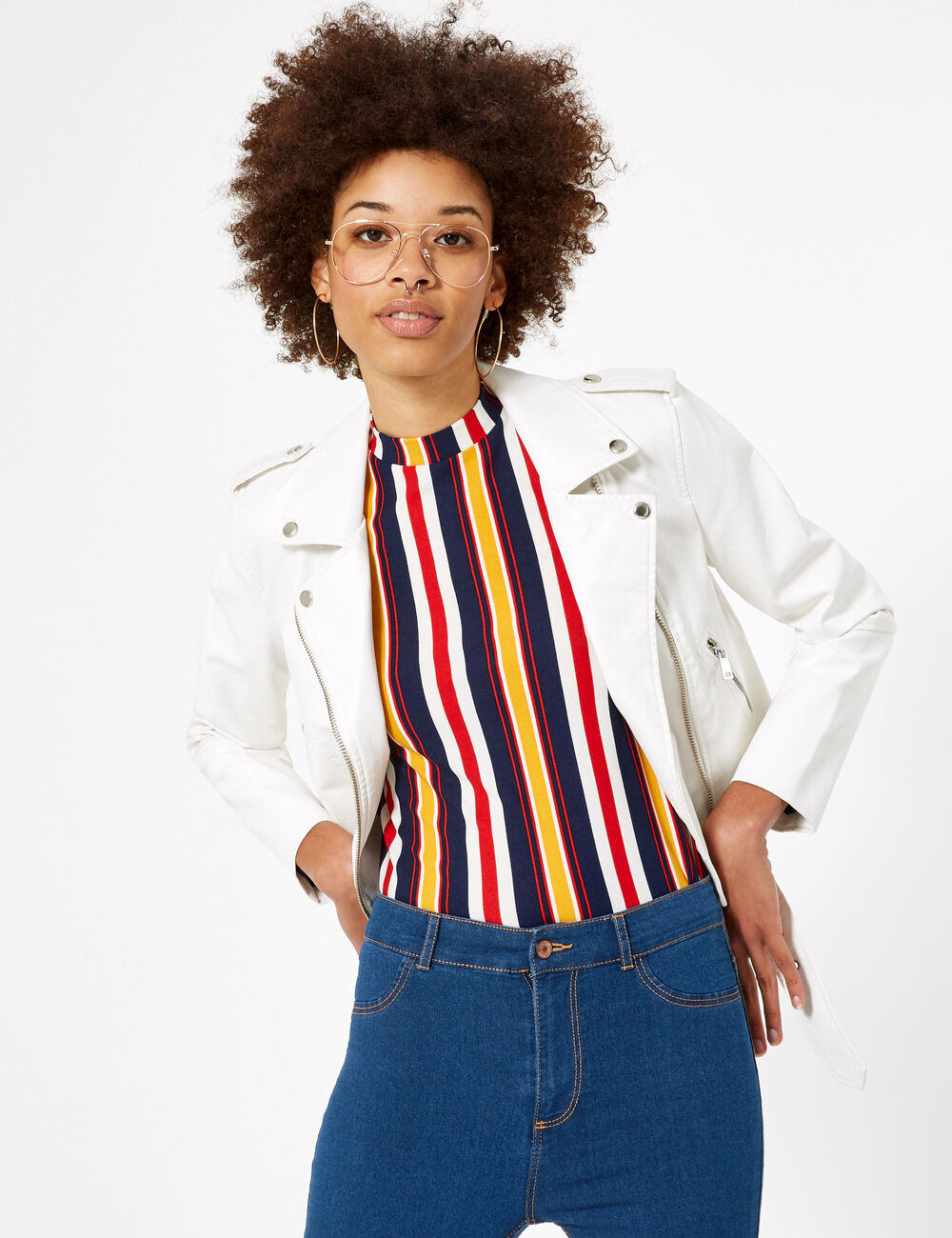 tee shirt ray rouge blanc ocre et bleu marine femme. Black Bedroom Furniture Sets. Home Design Ideas