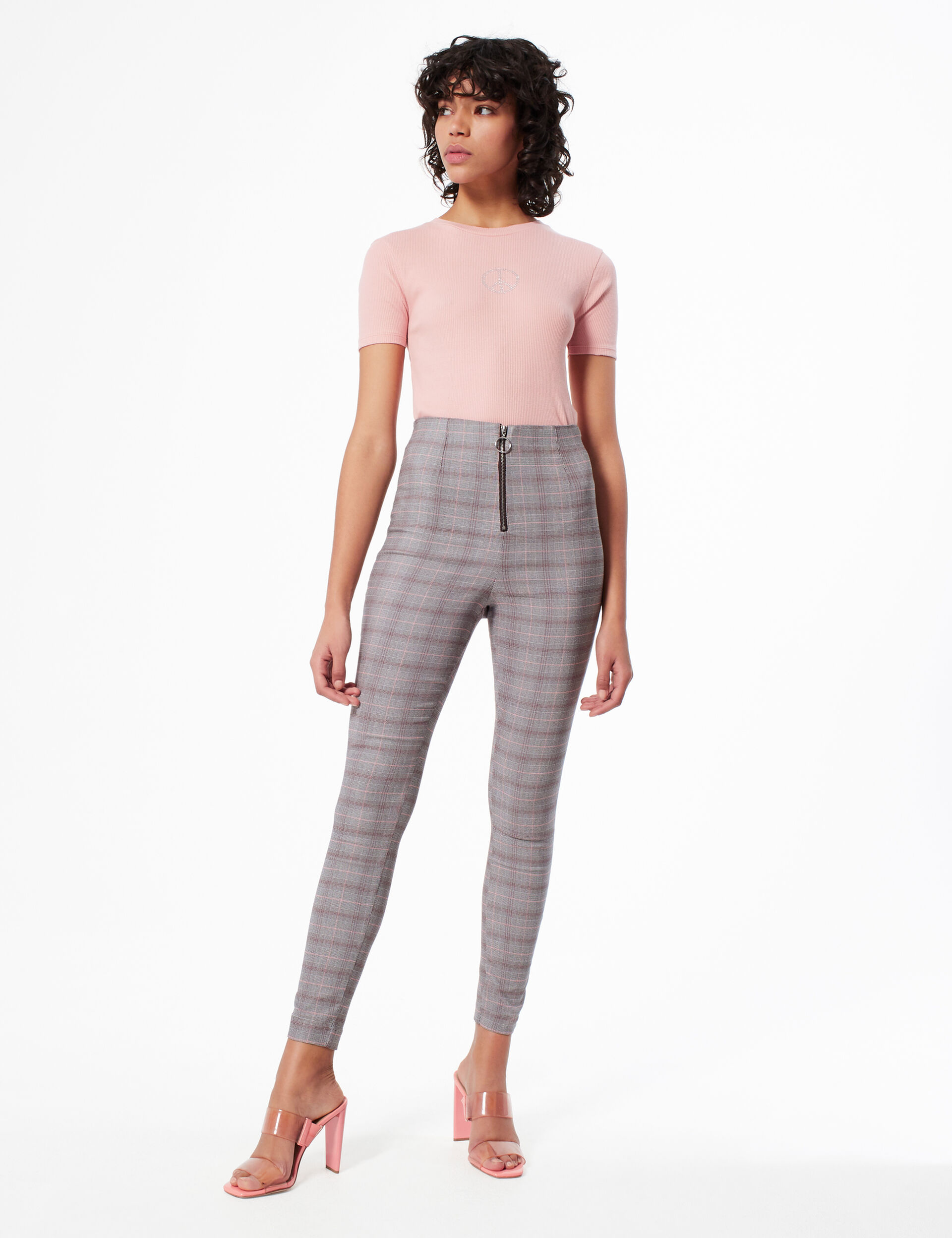 Glen check print trousers