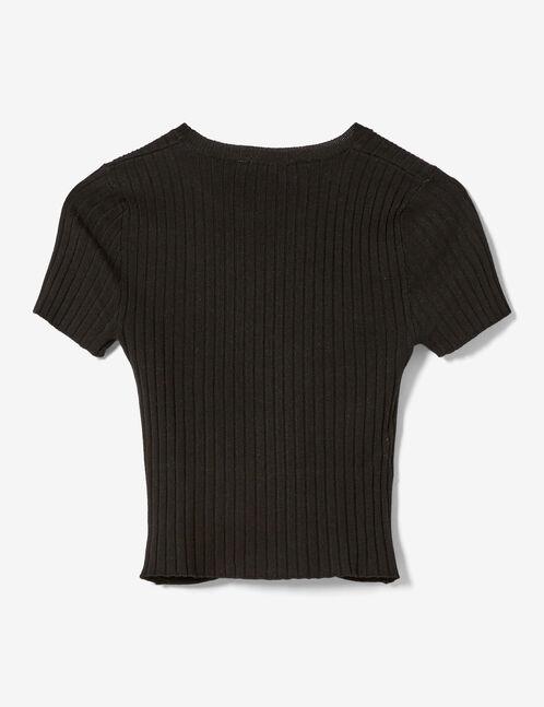 pull crop manches courtes noir