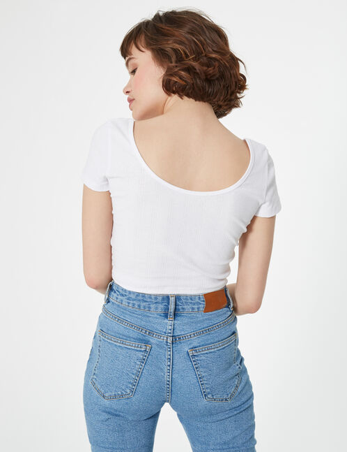 buttoned ribbed top