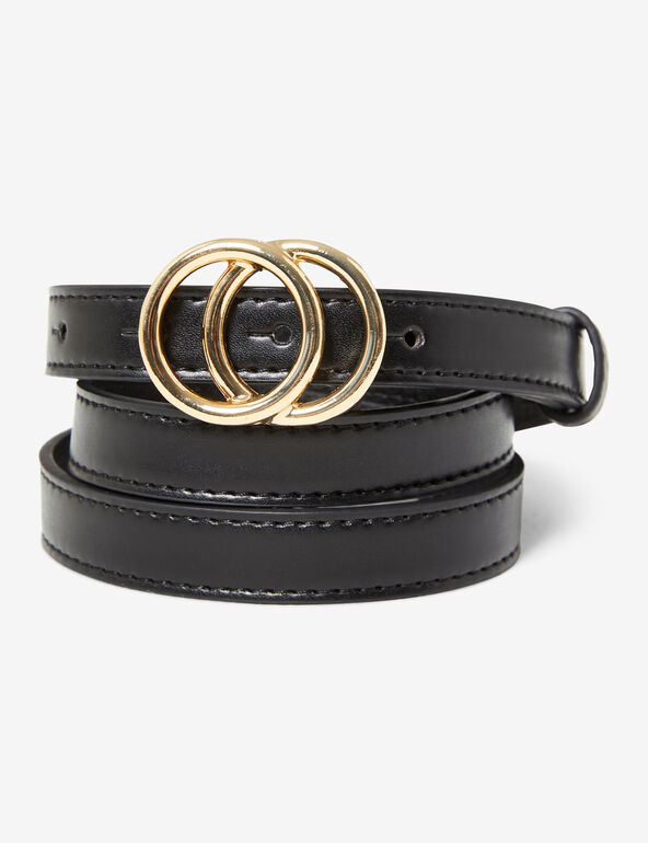 Slim double-buckled belt