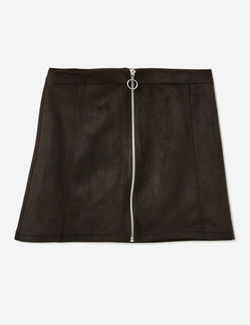 Black faux suede zipped skirt