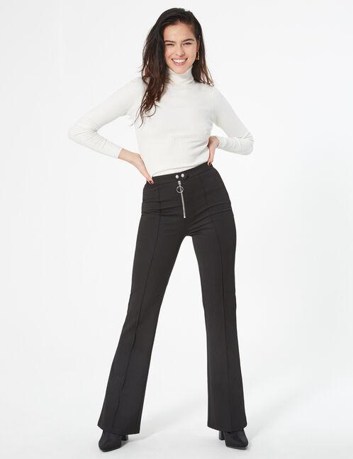 Pantalon zippé évasé