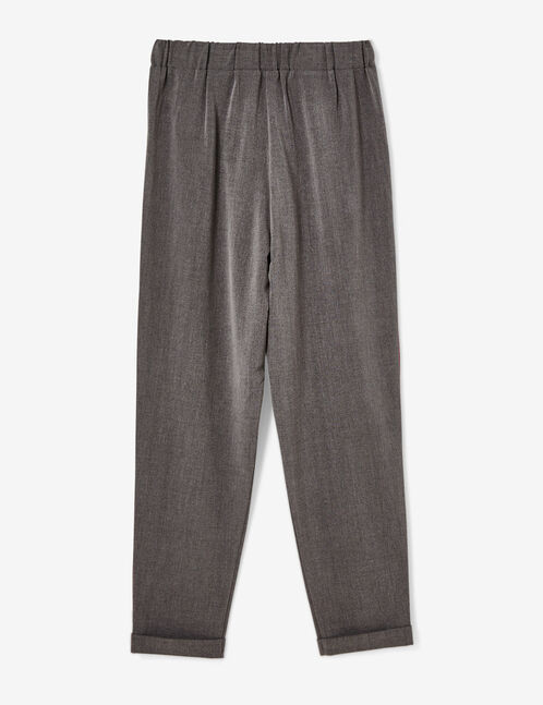 Charcoal grey and burgundy tailored trousers with stripe detail