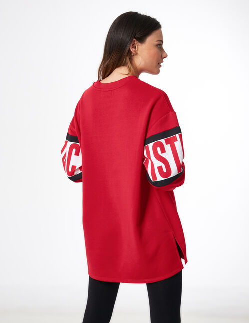 "Long red ""distraction"" sweatshirt"