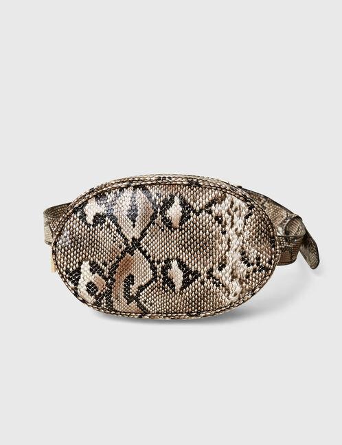 sac banane python beige et noir