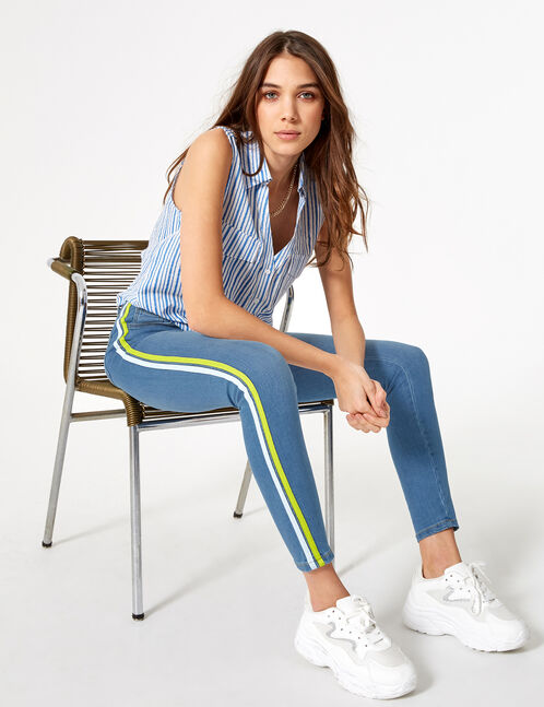 Blue, yellow and white jeans with trim detail