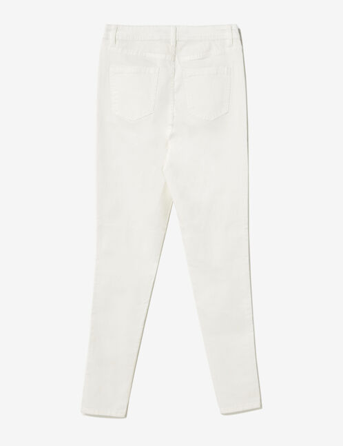 White high-waisted skinny trousers