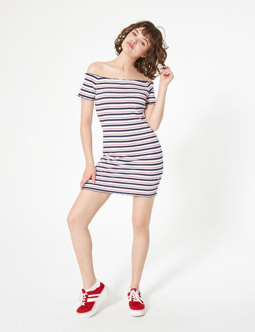 Striped off-the-shoulder dress
