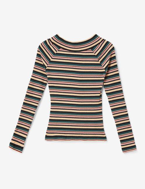 tee-shirt rayé col v
