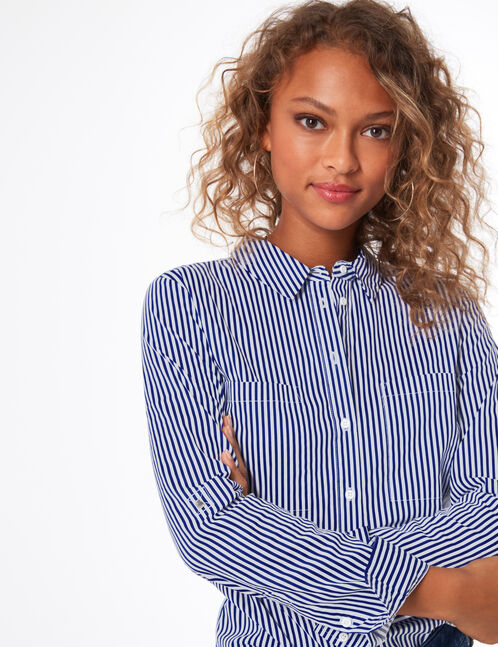 White and blue striped buttoned blouse