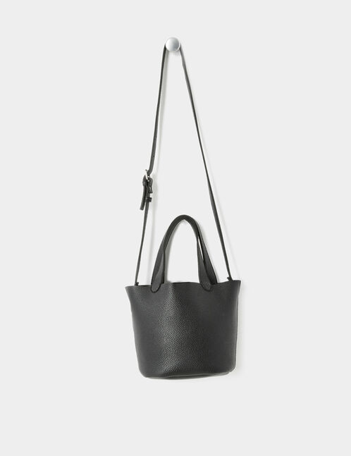 Black handbag with shoulder strap