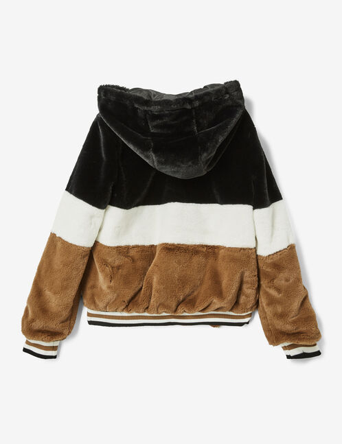Camel, white and black faux fur jacket