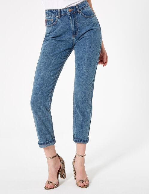 jean mom taille haute medium blue