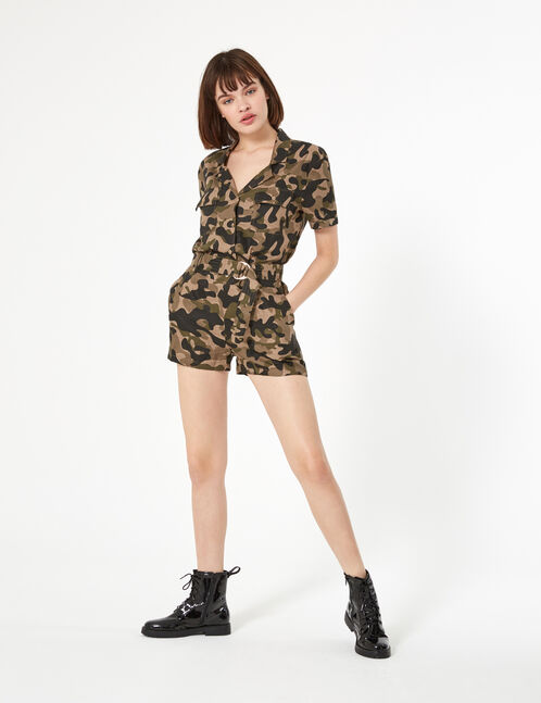 Khaki camouflage shirt playsuit