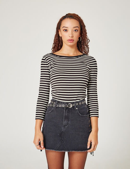 Black and cream striped scoop-back top