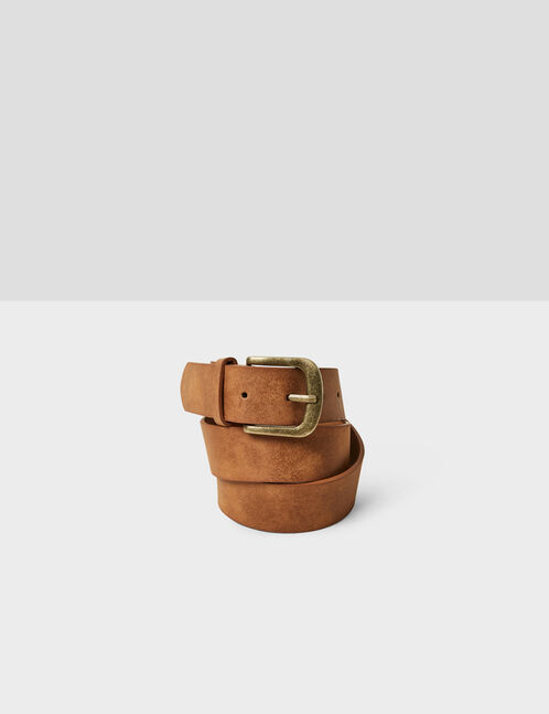 Camel faux suede belt