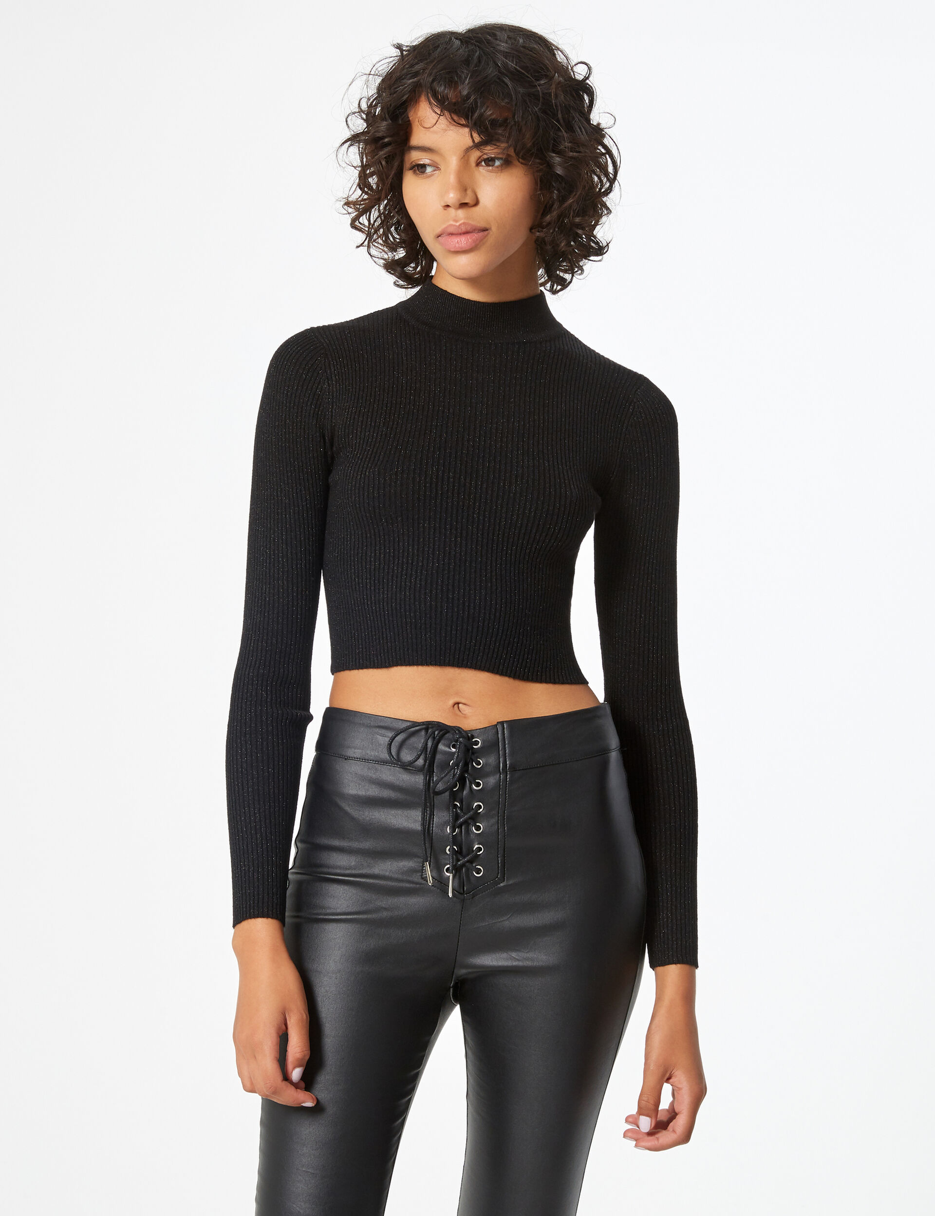 Cropped ribbed jumper with lurex detail
