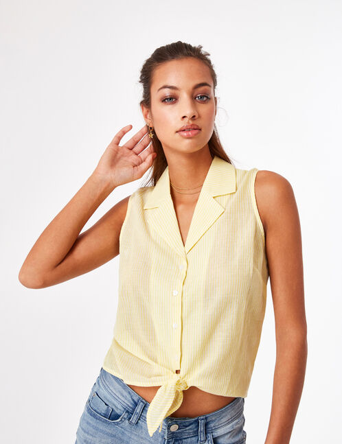 Light yellow and white tie-fastening blouse