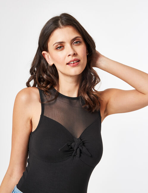 Black mixed fabric bodysuit with bow detail