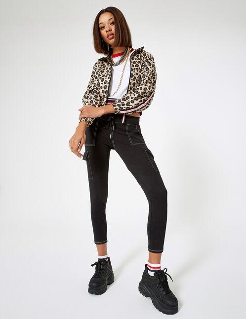 veste légère léopard beige et marron