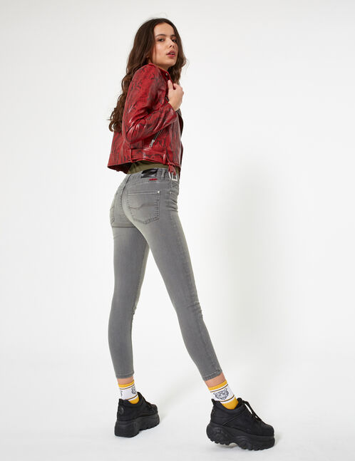 Grey low-rise skinny jeans