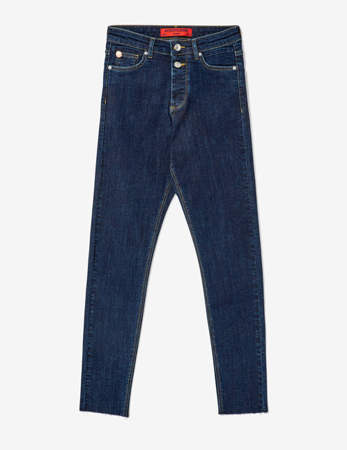Dark blue frayed jeans