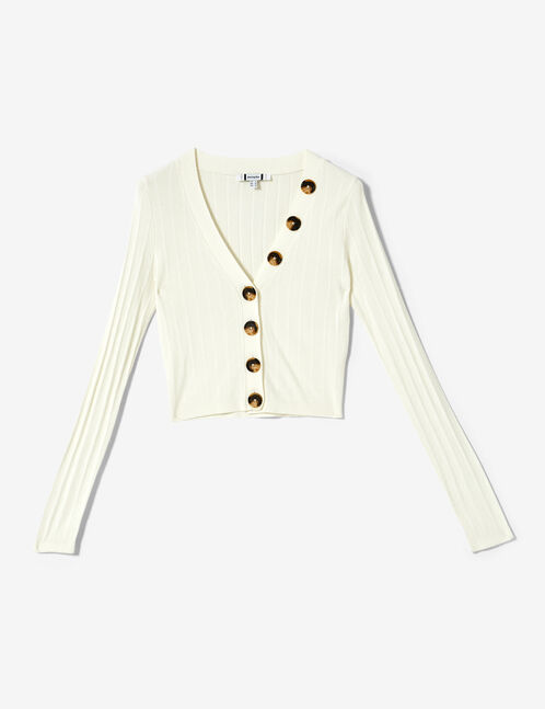 Short cream buttoned cardigan