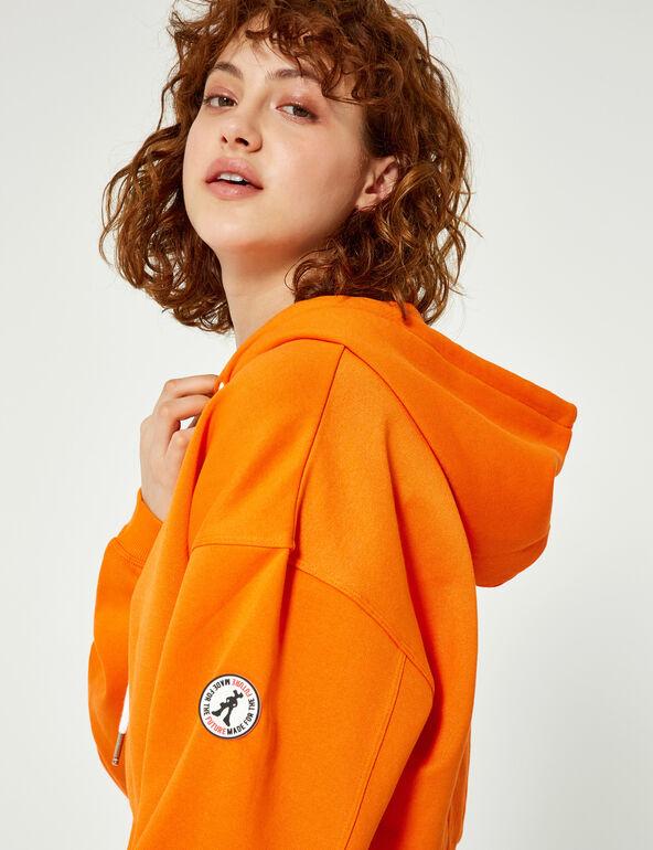 Sweat court à capuche orange