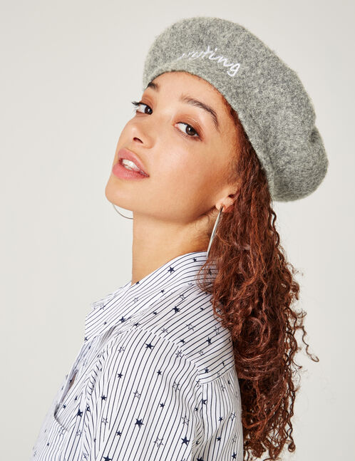 Grey marl beret with text design detail