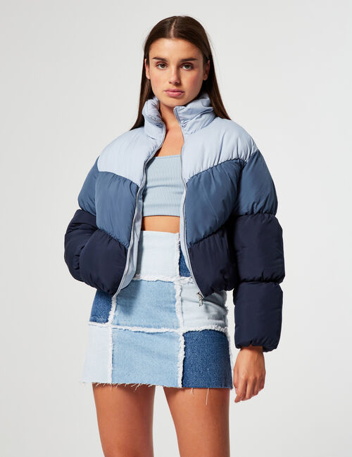 Tricolour high-necked padded jacket