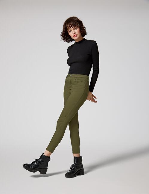 Khaki high-waisted push-up trousers