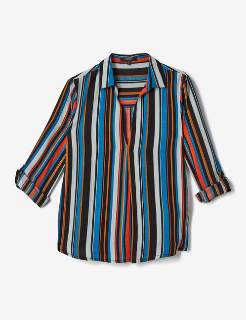 Black, white, camel, orange and blue striped V-neck blouse
