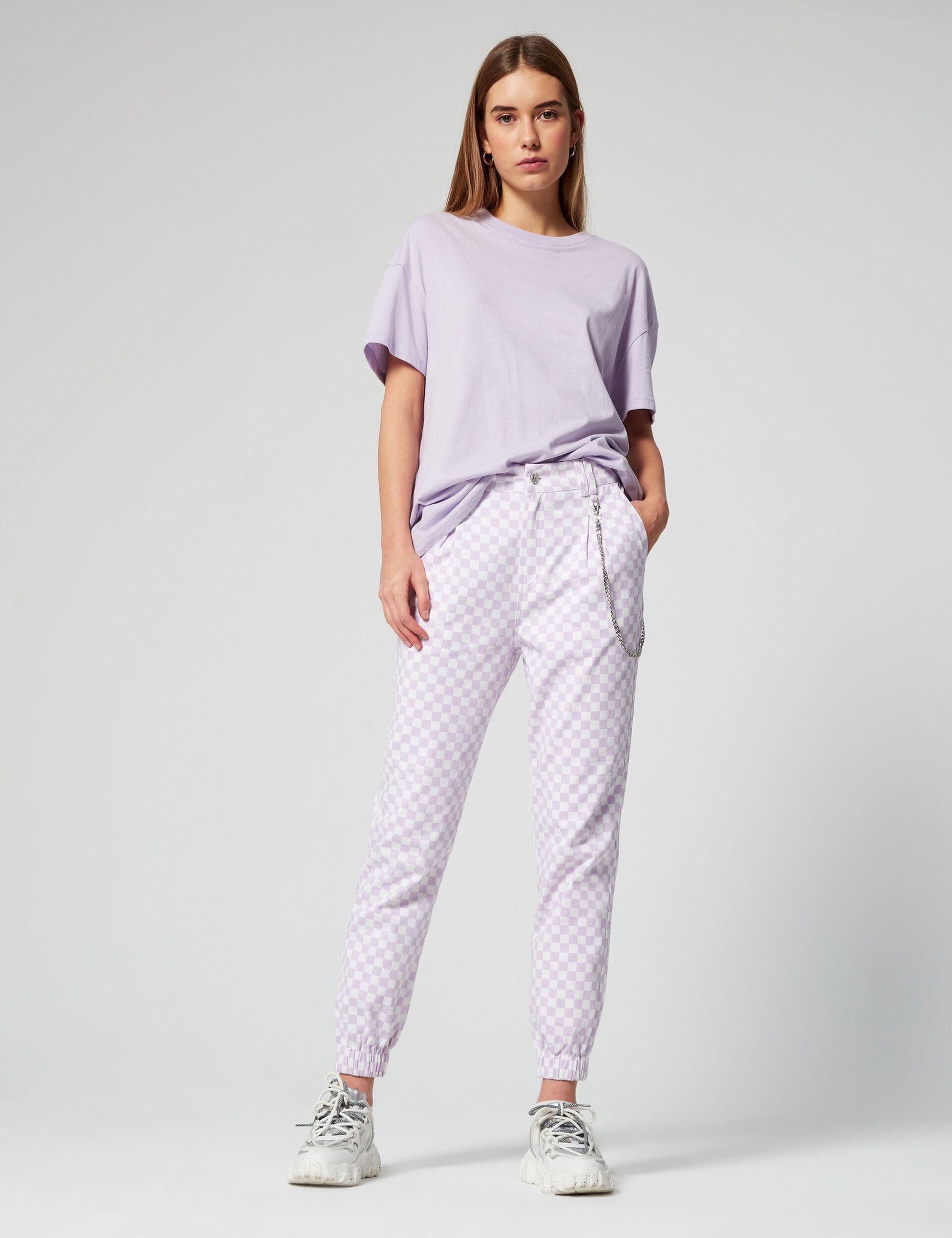 Checked print cargo pants