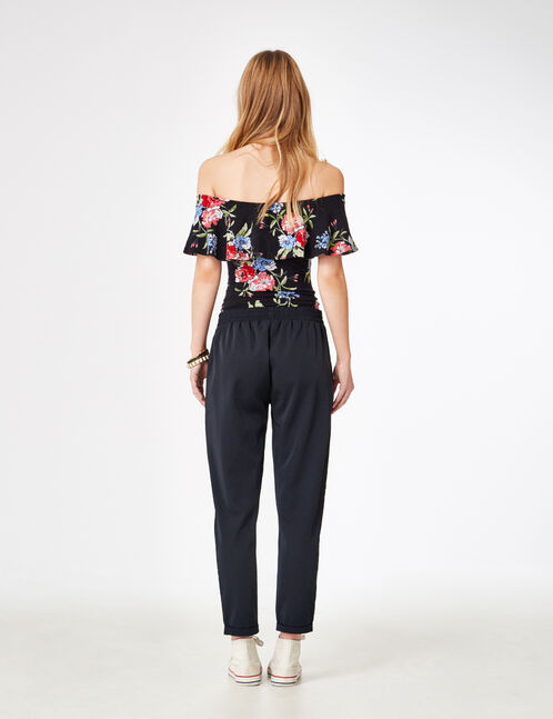 Navy blue pleated tailored trousers