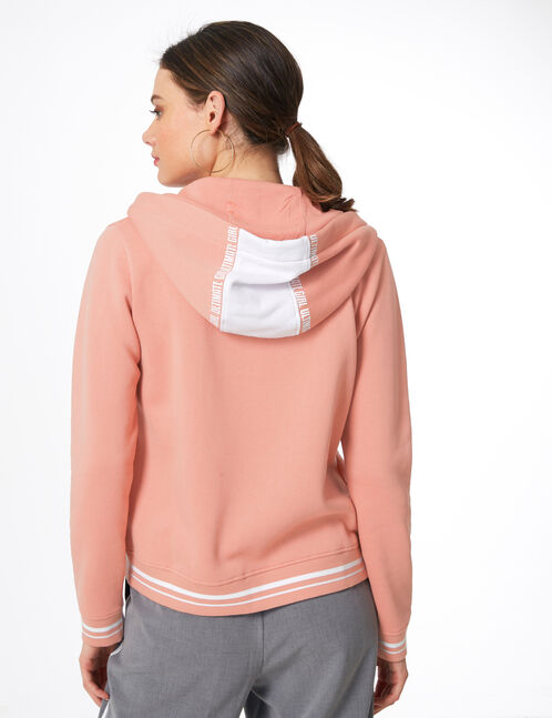 sweat à capuche zippé rose