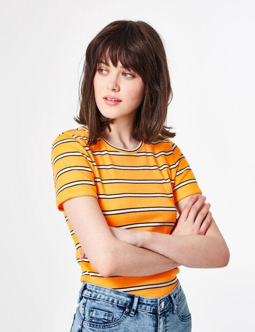 Light orange striped T-shirt