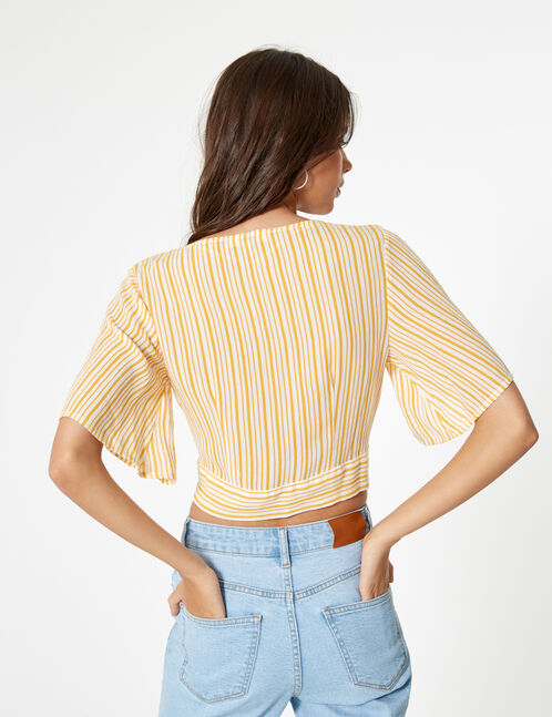 Ochre and cream striped buttoned shirt