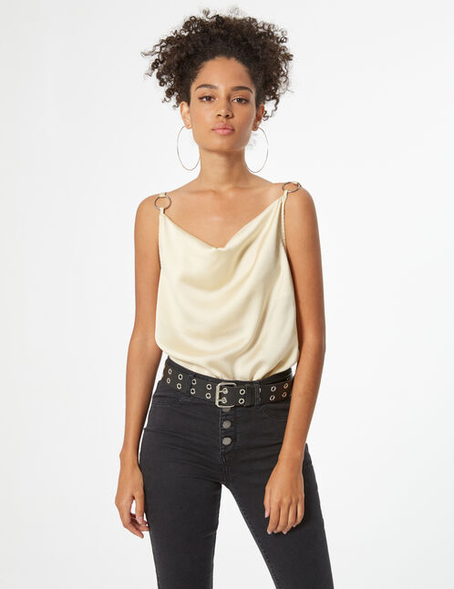 Low-cut cowl neck tank top