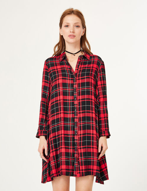Red and black flared shirt dress