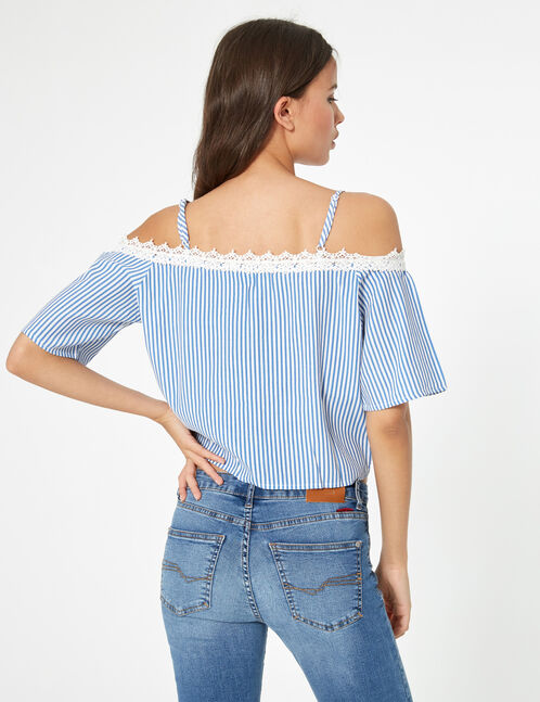 Blue and white striped floral blouse with lace detail