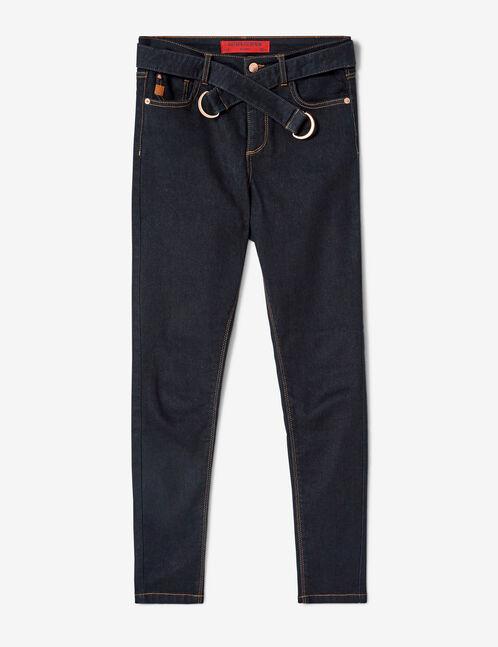Raw denim belted jeans