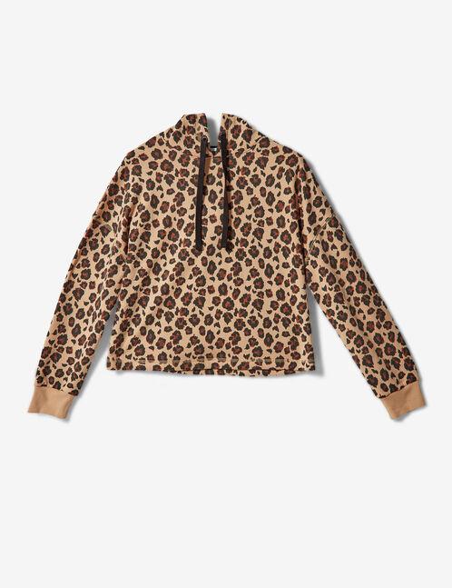 sweat léopard à capuche beige et noir