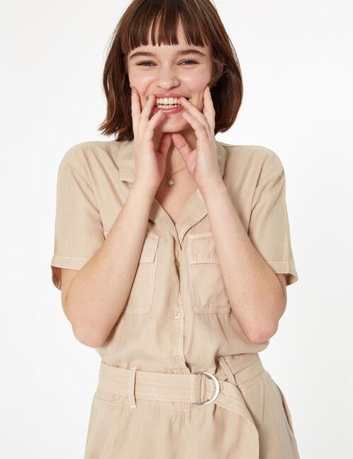 combishort esprit chemise beige