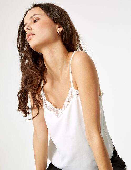 Cream blouse with lace detail