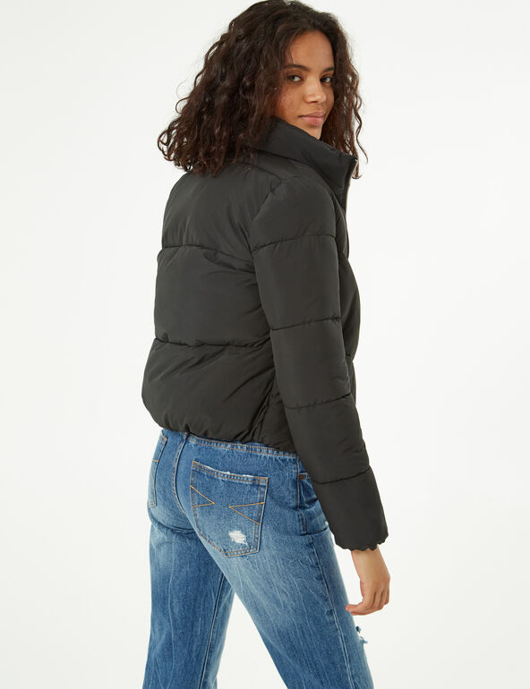 Quilted padded zipped jacket