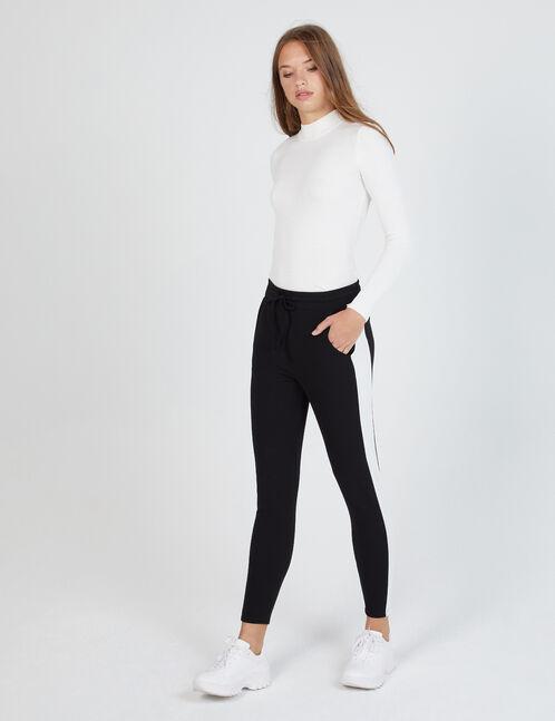 pantalon en crêpe noir et blanc