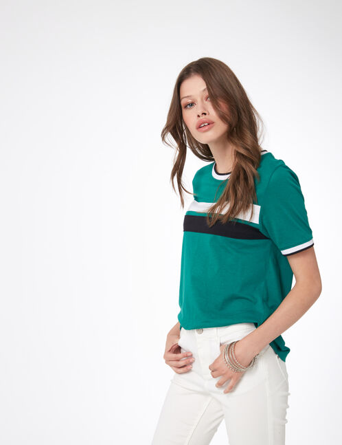 Green top with stripe detail